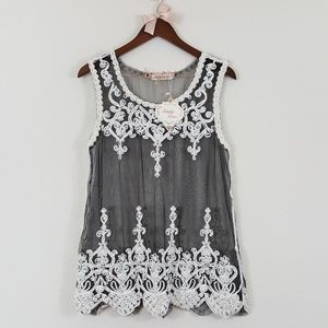 Simply Couture NWT Black Mesh Embroidered Lace Top